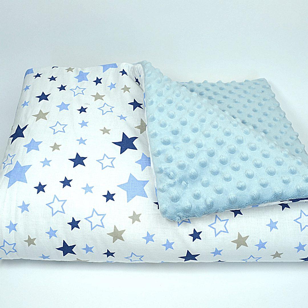 Kołderka i poduszka niebieskie gwiazdki