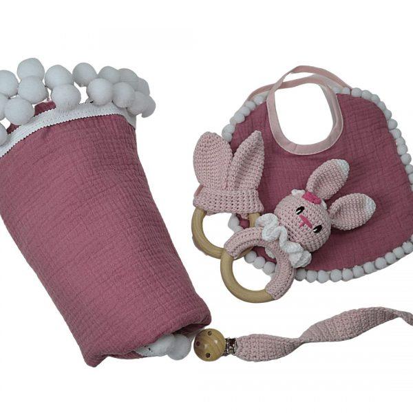 Zestaw prezentowy MAXI różowy dla noworodka   Kokonik.com