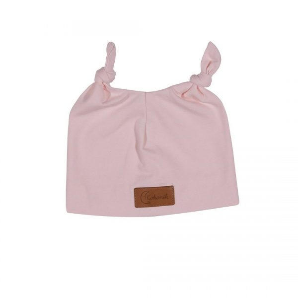 Czapeczka dla noworodka z uszami - pudrowy róż Kokonik.com