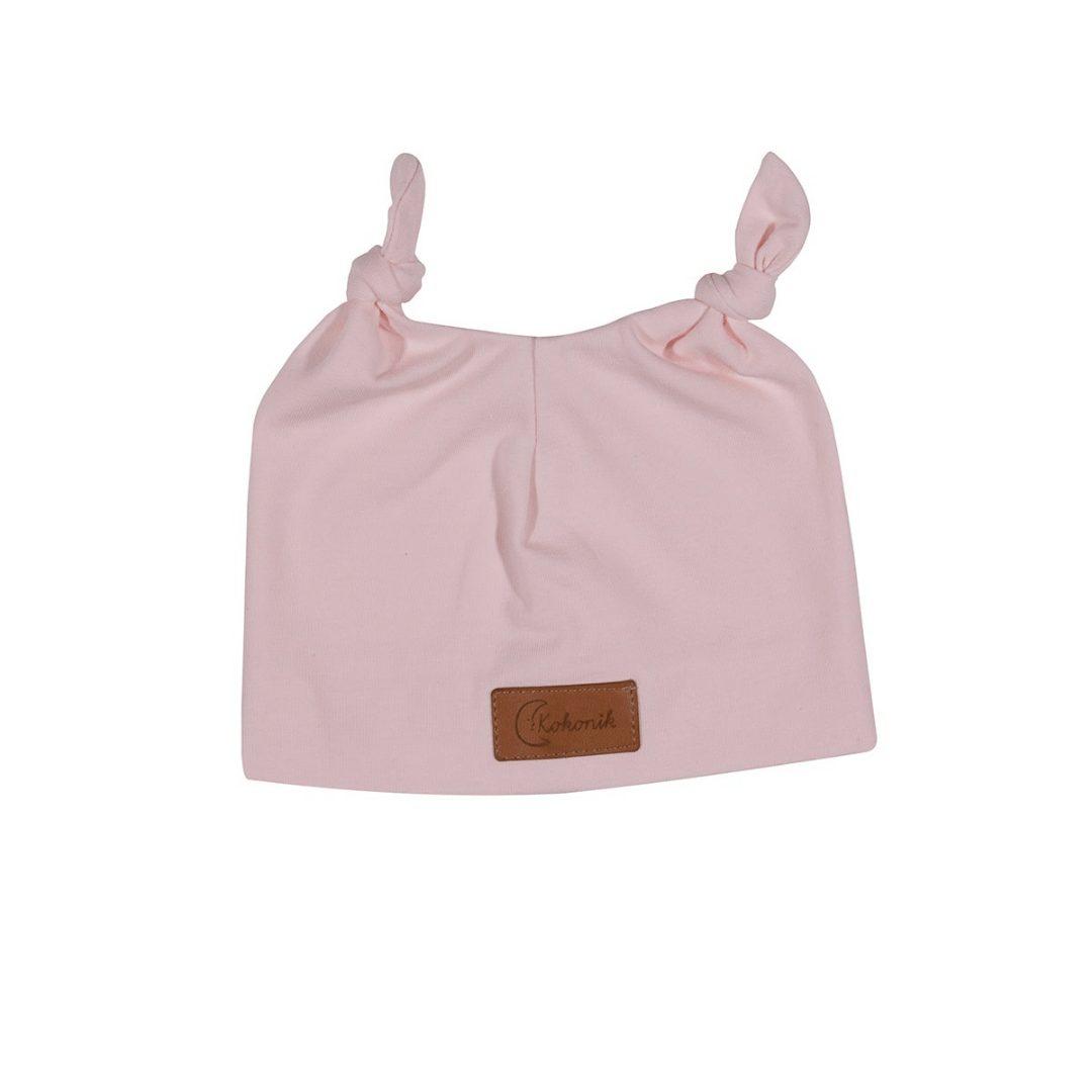 Czapeczka dla noworodka, z uszkami, różowa