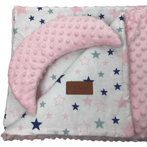 Kołderka i poduszka różowe gwiazdki