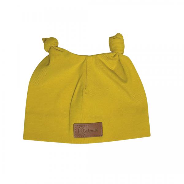Musztardowa czapeczka dla noworodka, z uszkami | Kokonik.com